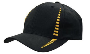 Headwear-Headwear Breathable Poly Twill with Small Check Patterning Cap-Black/Gold / Free Size-Uniform Wholesalers - 2