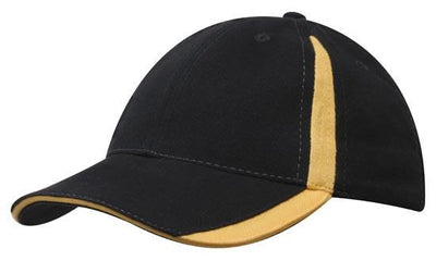 Headwear-Headwear  Brushed Heavy Cotton with Inserts on the Peak & Crown-Black/Gold / Free Size-Uniform Wholesalers - 2