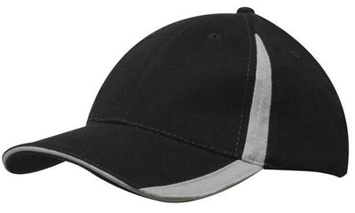 Headwear-Headwear  Brushed Heavy Cotton with Inserts on the Peak & Crown-Black/Grey / Free Size-Uniform Wholesalers - 3