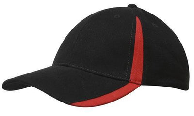 Headwear-Headwear  Brushed Heavy Cotton with Inserts on the Peak & Crown-Black/Red / Free Size-Uniform Wholesalers - 5