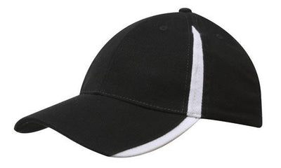 Headwear-Headwear  Brushed Heavy Cotton with Inserts on the Peak & Crown-Black/White / Free Size-Uniform Wholesalers - 7