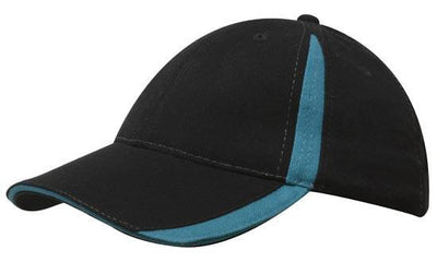 Headwear-Headwear  Brushed Heavy Cotton with Inserts on the Peak & Crown-Black/Teal / Free Size-Uniform Wholesalers - 6