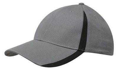 Headwear-Headwear  Brushed Heavy Cotton with Inserts on the Peak & Crown-Charcoal/Black / Free Size-Uniform Wholesalers - 9