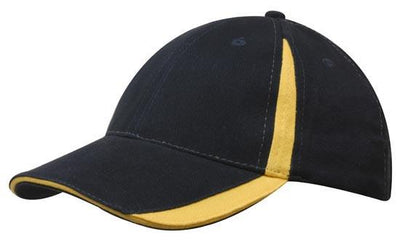 Headwear-Headwear  Brushed Heavy Cotton with Inserts on the Peak & Crown-Navy/Gold / Free Size-Uniform Wholesalers - 11