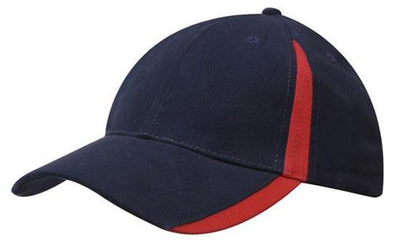Headwear-Headwear  Brushed Heavy Cotton with Inserts on the Peak & Crown-Navy/Red / Free Size-Uniform Wholesalers - 12