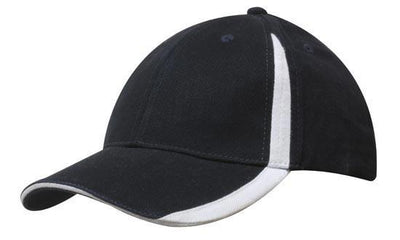 Headwear-Headwear  Brushed Heavy Cotton with Inserts on the Peak & Crown-Navy/White / Free Size-Uniform Wholesalers - 13