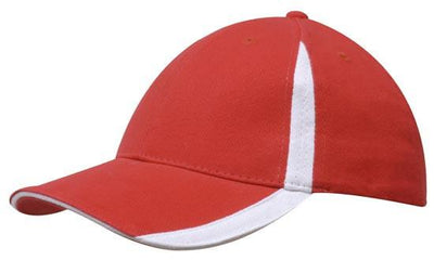 Headwear-Headwear  Brushed Heavy Cotton with Inserts on the Peak & Crown-Red/White / Free Size-Uniform Wholesalers - 14