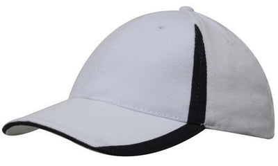 Headwear-Headwear  Brushed Heavy Cotton with Inserts on the Peak & Crown-White/Navy / Free Size-Uniform Wholesalers - 18