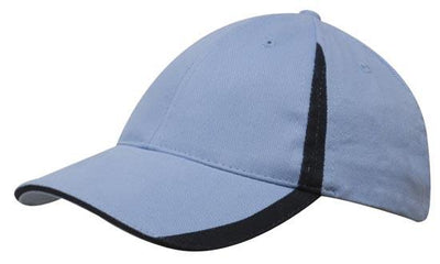 Headwear-Headwear  Brushed Heavy Cotton with Inserts on the Peak & Crown-Sky/Navy / Free Size-Uniform Wholesalers - 17