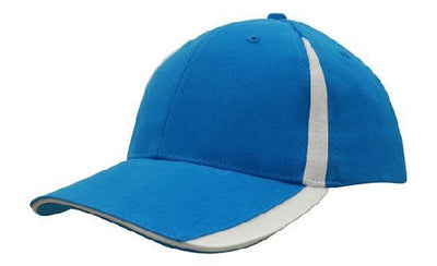 Headwear-Headwear  Brushed Heavy Cotton with Inserts on the Peak & Crown-Cyan/White / Free Size-Uniform Wholesalers - 10