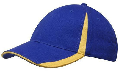 Headwear-Headwear  Brushed Heavy Cotton with Inserts on the Peak & Crown-Royal/Gold / Free Size-Uniform Wholesalers - 15