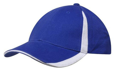 Headwear-Headwear  Brushed Heavy Cotton with Inserts on the Peak & Crown-Royal/White / Free Size-Uniform Wholesalers - 16