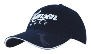 Headwear-Headwear Brushed Heavy Cotton with Embossed Pu Peak Cap-Black/Stone-Uniform Wholesalers - 1