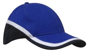Headwear-Headwear Brushed Heavy Cotton Tri-Coloured Cap-Royal/White/Navy / Free Size-Uniform Wholesalers - 6