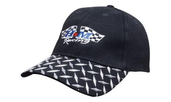 Headwear Brushed Heavy Cotton with Checker Plate on Peak (4044)