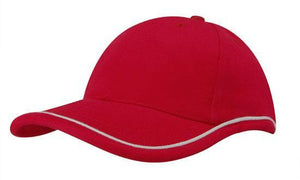 Headwear-Headwear Brushed Heavy Cotton with Piping On Peak & Crown-Red/White / Free Size-Uniform Wholesalers - 5