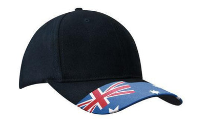 Headwear-Headwear Brushed Cotton Waving Flag Cap-Navy / Free Size-Uniform Wholesalers - 2