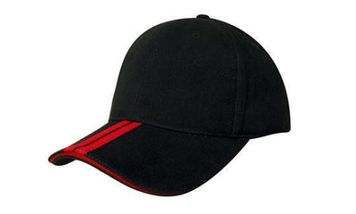 Headwear-Headwear Brushed Heavy Cotton with Two Striped Peak and Sandwich-Black/Red / Free Size-Uniform Wholesalers - 3