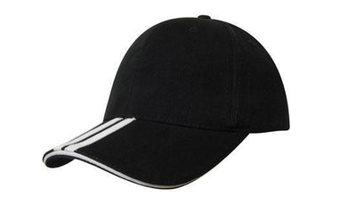 Headwear-Headwear Brushed Heavy Cotton with Two Striped Peak and Sandwich-Black/White / Free Size-Uniform Wholesalers - 4