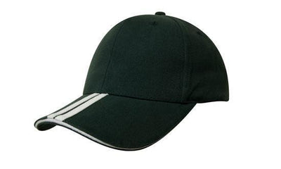 Headwear-Headwear Brushed Heavy Cotton with Two Striped Peak and Sandwich-Bottle/White / Free Size-Uniform Wholesalers - 5