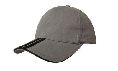 Headwear-Headwear Brushed Heavy Cotton with Two Striped Peak and Sandwich-Charcoal/Black / Free Size-Uniform Wholesalers - 6