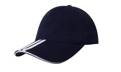 Headwear-Headwear Brushed Heavy Cotton with Two Striped Peak and Sandwich-Navy/White / Free Size-Uniform Wholesalers - 9