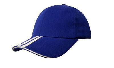 Headwear-Headwear Brushed Heavy Cotton with Two Striped Peak and Sandwich-Royal/White / Free Size-Uniform Wholesalers - 12