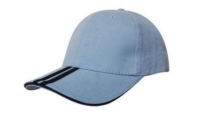 Headwear-Headwear Brushed Heavy Cotton with Two Striped Peak and Sandwich-Sky/Navy / Free Size-Uniform Wholesalers - 13