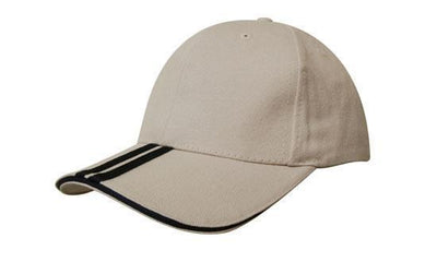 Headwear-Headwear Brushed Heavy Cotton with Two Striped Peak and Sandwich-Stone/Navy / Free Size-Uniform Wholesalers - 14