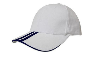 Headwear-Headwear Brushed Heavy Cotton with Two Striped Peak and Sandwich-White/Navy / Free Size-Uniform Wholesalers - 15