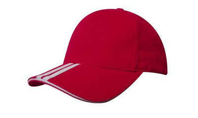 Headwear-Headwear Brushed Heavy Cotton with Two Striped Peak and Sandwich-Red/White / Free Size-Uniform Wholesalers - 11