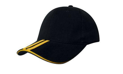 Headwear-Headwear Brushed Heavy Cotton with Two Striped Peak and Sandwich-Black/Gold / Free Size-Uniform Wholesalers - 2