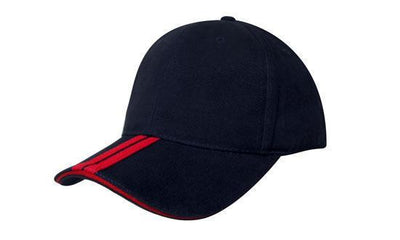 Headwear-Headwear Brushed Heavy Cotton with Two Striped Peak and Sandwich-Navy/Red / Free Size-Uniform Wholesalers - 8