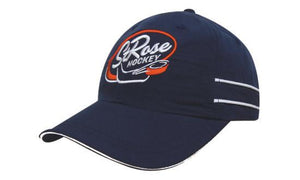 Headwear-Headwear Microfibre Sports Cap with Piping and Sandwich Cap--Uniform Wholesalers - 1