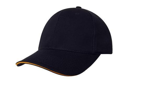 dce6395636d Headwear-Headwear Deluxe Bull Denim Cotton Twill with Sandwich Trim Cap -Navy Gold