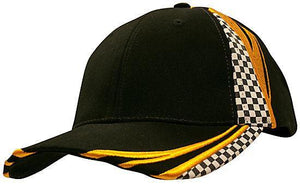 Headwear-Headwear Brushed Heavy Cotton with Embroidery & Printed Checks-Black/Gold / Free Size-Uniform Wholesalers - 3