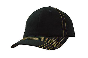 Headwear-Headwear Brushed Heavy Cotton with Contrasting Stitching & Cross Stitched Peak-Black/Gold / Free Size-Uniform Wholesalers - 2