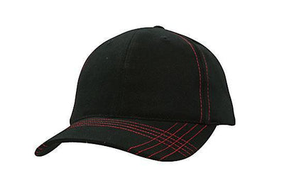 Headwear-Headwear Brushed Heavy Cotton with Contrasting Stitching & Cross Stitched Peak-Black/Red / Free Size-Uniform Wholesalers - 3