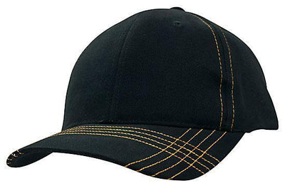 Headwear-Headwear Brushed Heavy Cotton with Contrasting Stitching & Cross Stitched Peak-Navy/Gold / Free Size-Uniform Wholesalers - 5
