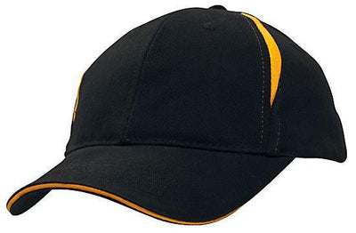 Headwear-Headwear Brushed Heavy Cotton with Crown Inserts & Sandwich Cap-Navy/Gold / Free Size-Uniform Wholesalers - 5