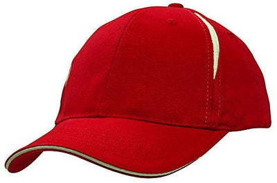 Headwear-Headwear Brushed Heavy Cotton with Crown Inserts & Sandwich Cap-Red/White / Free Size-Uniform Wholesalers - 7