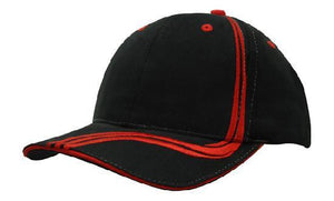 Headwear-Headwear Brushed Heavy Cotton with Waving Stripes on Crown & Peak Cap-Black/Red / Free Size-Uniform Wholesalers - 3