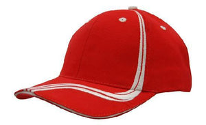 Headwear-Headwear Brushed Heavy Cotton with Waving Stripes on Crown & Peak Cap-Red/White / Free Size-Uniform Wholesalers - 7