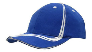 Headwear-Headwear Brushed Heavy Cotton with Waving Stripes on Crown & Peak Cap-Royal/White / Free Size-Uniform Wholesalers - 8