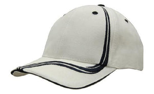Headwear-Headwear Brushed Heavy Cotton with Waving Stripes on Crown & Peak Cap-White/Navy / Free Size-Uniform Wholesalers - 9