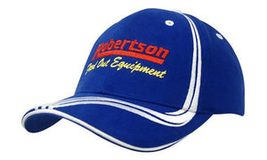 Headwear-Headwear Brushed Heavy Cotton with Waving Stripes on Crown & Peak Cap--Uniform Wholesalers - 1
