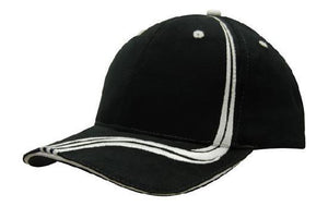 Headwear-Headwear Brushed Heavy Cotton with Waving Stripes on Crown & Peak Cap-Black/White / Free Size-Uniform Wholesalers - 4
