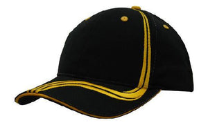 Headwear-Headwear Brushed Heavy Cotton with Waving Stripes on Crown & Peak Cap-Black/Gold / Free Size-Uniform Wholesalers - 2