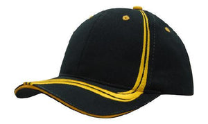 Headwear-Headwear Brushed Heavy Cotton with Waving Stripes on Crown & Peak Cap-Navy/Gold / Free Size-Uniform Wholesalers - 5