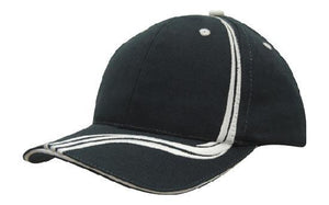 Headwear-Headwear Brushed Heavy Cotton with Waving Stripes on Crown & Peak Cap-Navy/White / Free Size-Uniform Wholesalers - 6